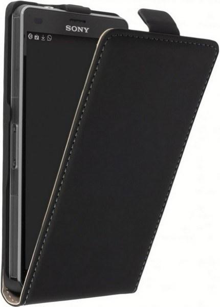 Z5 leder Klapp-Tasche (Vertikal) schwarz
