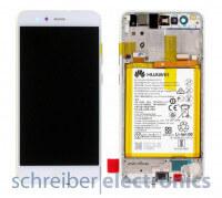 Huawei P10 Lite Display mit Rahmen + Akku weiss