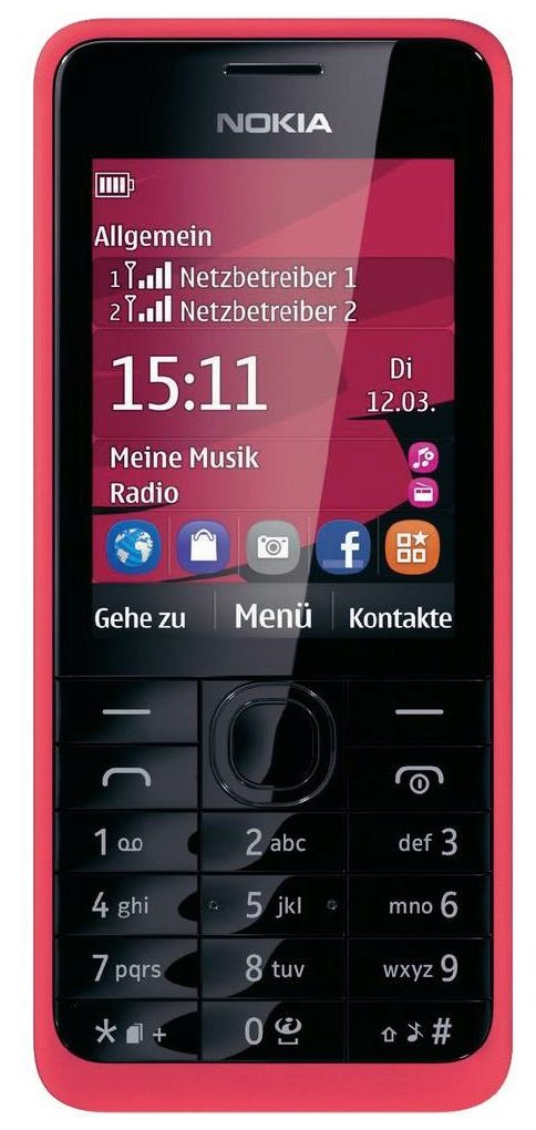 nokia 301 handy schwarz weiss pink fuchsia gelb neu vom. Black Bedroom Furniture Sets. Home Design Ideas
