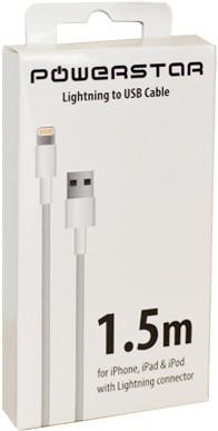 PowerStar USB Datenkabel iPhone 5, 5C, 5S, 6, 6 Plus, 6S, 6S Plus (1,50 m)