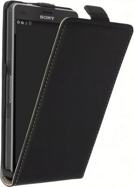 Sony Xperia E5 F3311 Leder Klapp-Tasche (Vertikal) schwarz