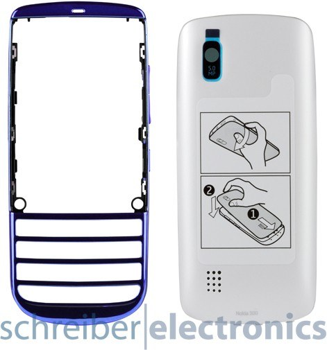 Nokia Asha 300 Cover + Akkudeckel blau