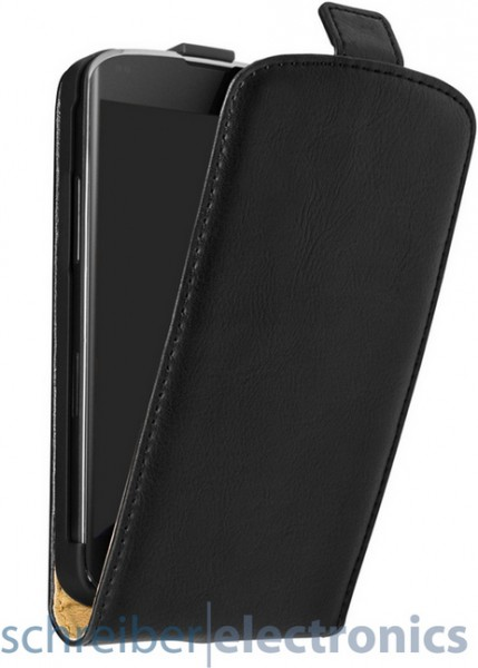 E960 Nexus 4 leder Klapp-Tasche (Vertikal) schwarz