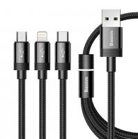 Baseus 3 in 1 USB Kabel MICRO & USB-C, Lightning, extrem Robust
