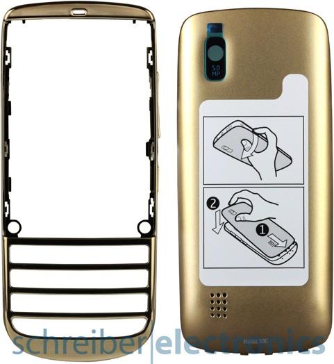 Nokia Asha 300 Cover + Akkudeckel gold