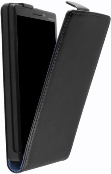 Lumia 640 Klapp-Tasche (Flip-Case) in schwarz leder