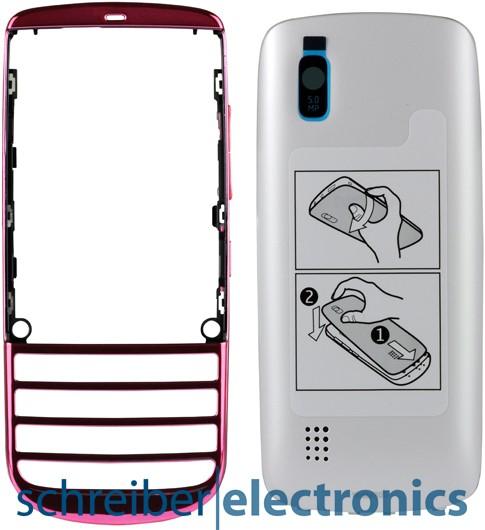 Nokia Asha 300 Cover + Akkudeckel pink